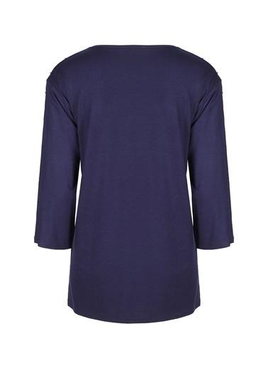 Butik Triko 3795 İnci Detaylı Sıfır Yaka Penye Bluz Lacivert